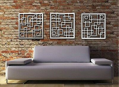 Abstract Stainless Steel Wall Sculpture Art Metal Decor Laser Cut Silver 3Square