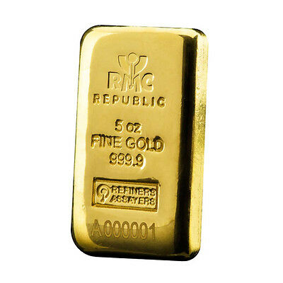 5oz Gold Casted RMC Bar
