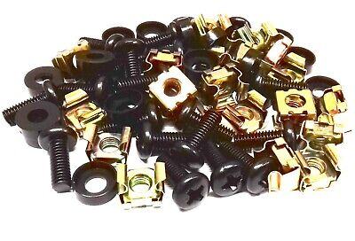 "20 PACK BLACK M6 CAGE NUTS BOLTS WASHERS FOR 19"" RACK MOUNT CABINETS 15mm THREAD"