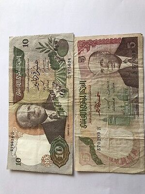 BILLETS - Lot 2 Billets Banque Tunisie 5 Et 10 Dinars (A215)