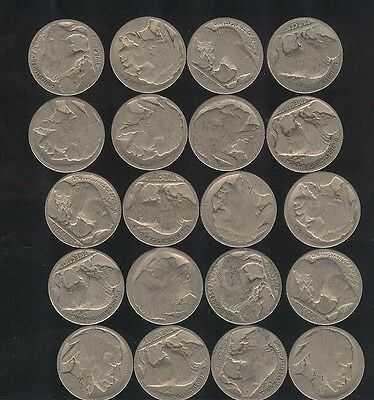 20 CT Lot of Buffalo Nickels   ~ Part Dates ~  Old Collectibles Bulk Price