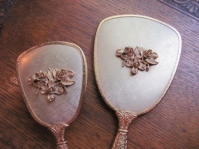 Vintage Beautiful Victorian Goldtone Vanity Mirror, Brush & Comb Set