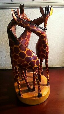 """Giraffe Hand carved Wooden ,circle of 3, wood carved,13"""" tall x 6 wide kenya vtg"""