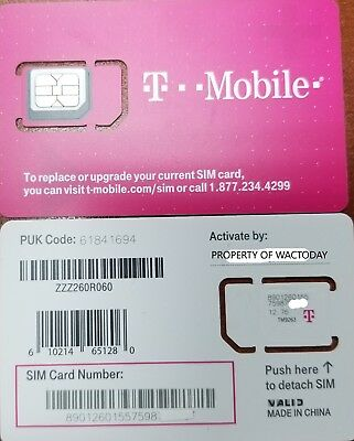 NEW T-Mobile 4G FACTORY Micro Sim Card.