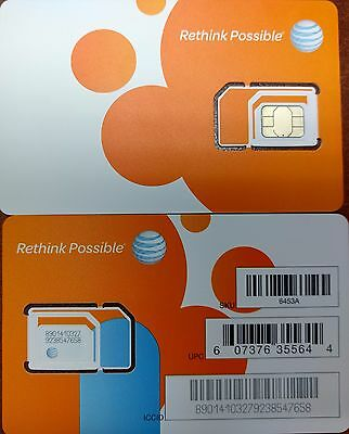 AT&T OEM NANO 4G LTE sim card   NEW UNACTIVATE, TRIPLE CUT SIM (3 IN 1)