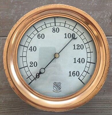 "Ashcroft Vintage Brass Gauge 10"" Industrial Steam Punk Pressure Early Large"