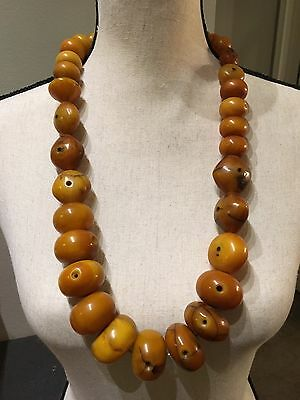 Antique LARGE African Trade Bead Amber Necklace 377 Grams