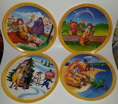 "Vintage 1977 Lexington Ronald McDonald 10"" Plastic Plates - 4 Seasons"