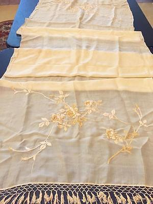 Antique / Vintage Silk Scarf or Table Runner as is, cutter?