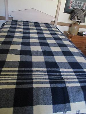 Vintage Woven Wool Blanket  - Very Desirable Navy/Cream Chunky Plaid