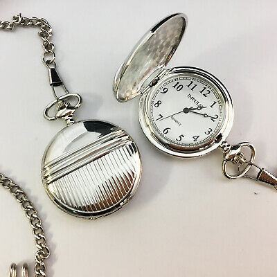 New Pocket FOB Watch Stripe SILVER Chrome Case Classic White Dial - FREE POST