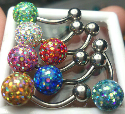 Belly Rings Ferido Crystal 8mm Balls Epoxy Coated Mix AB Colors 7Pcs/1Set