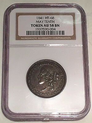 1841 May Tenth Hard Times Token NGC AU58 HT-68 : Nice Detail And Surfaces