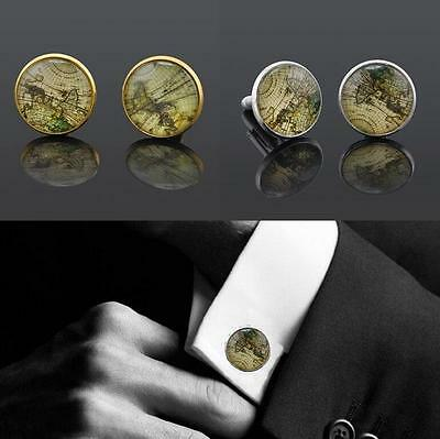 1 Pair Vintage World Map Cufflinks Silver Plated Old Cuff links Gift For Men Pop