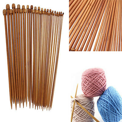 36Pcs 18size Smooth Carbonized Bamboo Single Pointed Knitting Needles 2MM-10MM