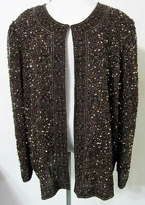 2X FULLY BEADED JACKET Plus Brown Gold Evening Cocktail Formal Cruise Party