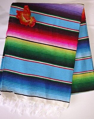 Mexican Serape Blanket light Blue Multi Color Rainbow Southwest White Fringe  XL