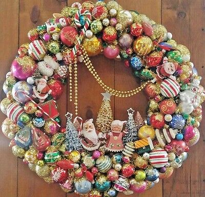 SOLD Custom Orders Welcome! LARGE Christmas Wreath Vintage Ornaments 28 inches