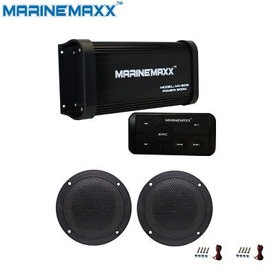 """4-Channel Marine Bluetooth Amplifier Motorcycle Stereo Boat MP3 Car+4"""" Speakers"""