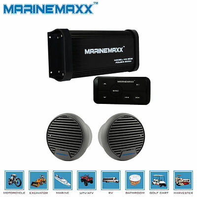 4-Channel Marine Boat Audio Bluetooth Amplifier Motorcycle Stereo Car+2 Speakers