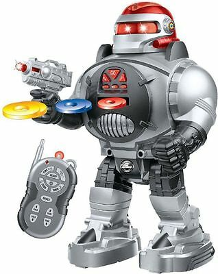 Futuristic Remote Control Robot Fires Disc Fun Interactive Programmable Kids Toy