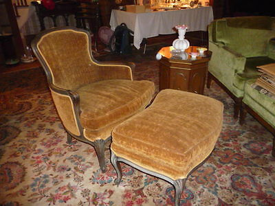 W&J SLOANE French Provincial ARM CHAIR w/ shaped OTTOMAN Vtg 2 pcs