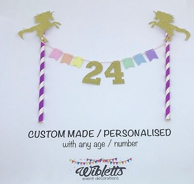 Custom Any Number Age Birthday Cake Topper Bunting Pastel Rainbow Unicorn Gold