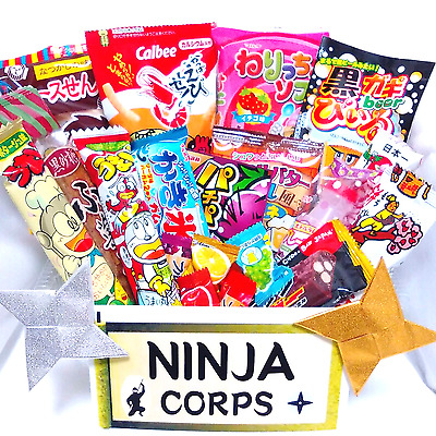 Japanese Sweets Dagashi Set Chocolate, Candy (20 pcs) & Free NINJA STARS