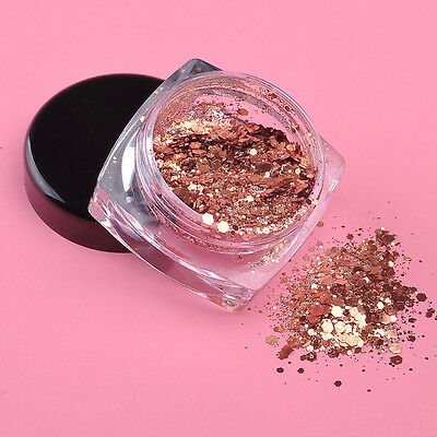 3g Rose Gold Nail Art Glitter Powder Dust Acrylic UV Gel Tips Sequins Decoration