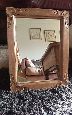 pretty arts and crafts carved wood mirror