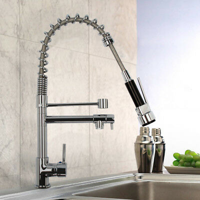 Modern Pull Out Mixer Tap Monobloc Chrome Brass Kitchen Spray Faucet