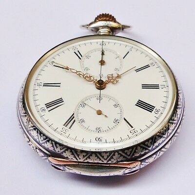 MONTRE GOUSSET CHRONOGRAPHE LONGINES 19CH 1891 ARGENT NIELLE - Pocket Watch