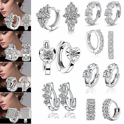 Fashion Lady Women's Crystal 925 Sterling Silver Ear Stud Hoop Earrings Jewelry
