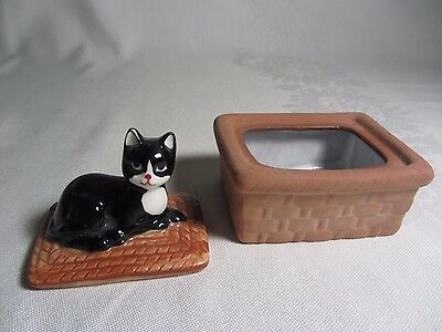 Vintage Black Cat on Basket Trinket Jewelry Box Ceramic Porcelain Laying Curled