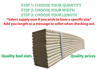 Bed Slats Brand New Replacement 6-12-24 Sprung 970 X 50 Or 60 - Can Cut To Size