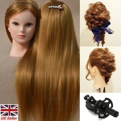 "Hairdressing Training Head 26"" 30% Real Human Hair Model Mannequin Doll + Clamp"