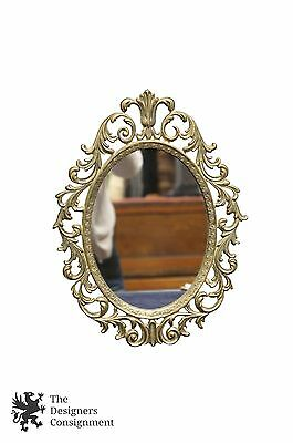 """Vintage Regency Rococo Style Oval Brass Wall Mirror Leaves French Frame 12.5"""""""