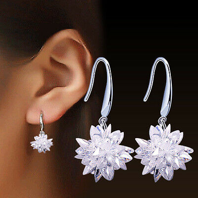 Earrings Hook Flower Drop Dangle 925 Sterling Silver Vintage Ladies Jewelry Gift
