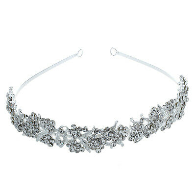 Silver-plated Crystal Flower Bridal Jewelry Tiara Hair Band Wedding Top X2S2