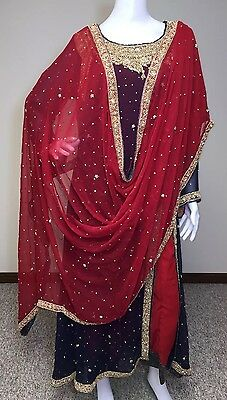 Pakistani Indian Shalwar Kameez Bridal Party Wear Wedding Maroon Gown M