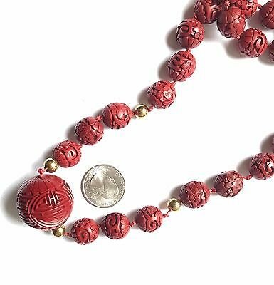 Red Cinnabar Necklace Carved Beads with Large Center Bead Shou Longevity