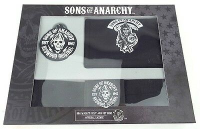 * SONS OF ANARCHY - BOXED GIFT SET -  WALLET - BELT - RUBBER KEYRING rrp £10