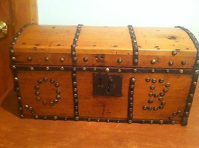 Antique Dome Top Wooden Treasure Document Chest Box Brass Studs Leather Accents