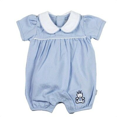 Baby Boys Blue Peter Pan Collar Teddy Romper Newborn 0-3 3-6 Months