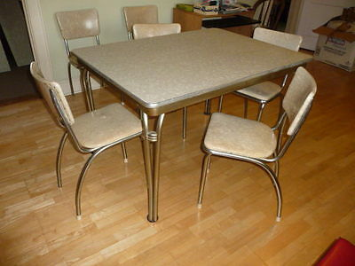 Retro Chrome & Cracked Ice ext Dining Kitchen TABLE & 6 CHAIRS Howell Chromsteel