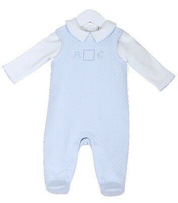 Baby Boy's Spanish Style Sky Blue 2 Piece Overall Dungaree & Top Set NB 3-6 Mth