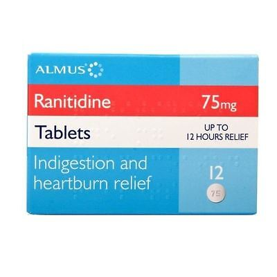 Ranitidine 75mg | Indegestion and Heartburn Relief | 12 Tablets 1 2 3 6 Packs