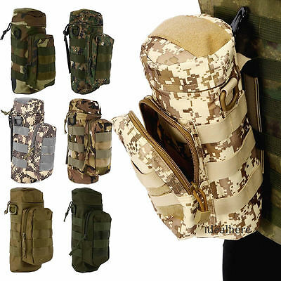 Tactical  Molle Military Zipper Water Bottle  Hydration Pouch Bag Outdoor Hiking