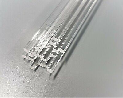 4mm x 4mm Square Plastic Rod Clear Acrylic Various Lengths 50mm up to 600mm long