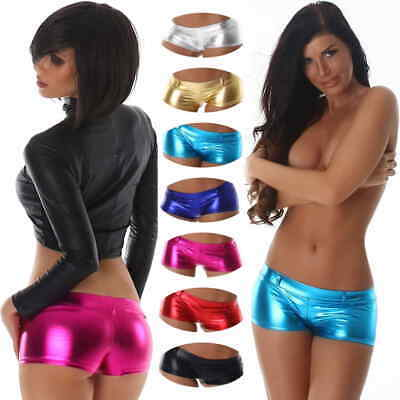 Damen Sexy Hotpants Wetlook metallic GoGo Shorts Panty Glanz Lack 32 34 36 XS S